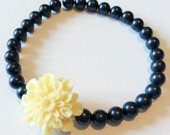 Navy Blue pearl and ivory flower bracelet