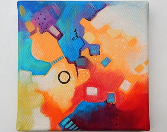 Puzzle of Color 1 - Original abstract colorful traditional acrylic painting on canvas 6x6""