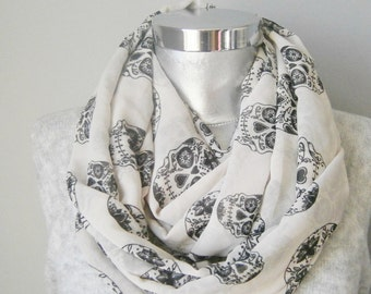 White scarf  chiffon infinity scarf scarf  Gift Ideas, For Her, Infinity Scarf