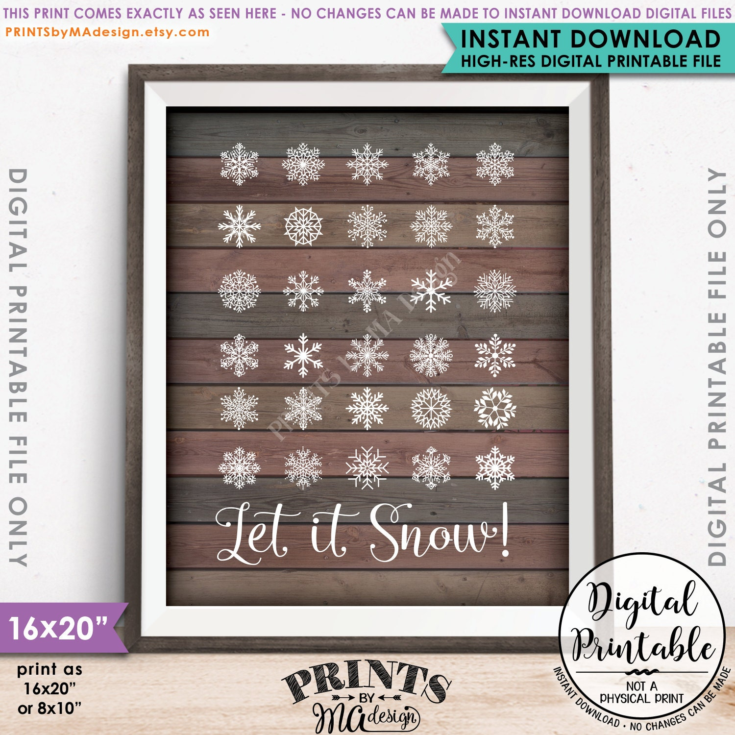 Snowing christmas decoration let it snow - Let It Snow Sign Winter Decor Christmas Decoration Snowing Snow Flurry Snowflakes 8x10 16x20 Rustic Wood Style Instant Download Printable