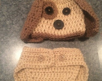 Crochet NB Puppy hat and diaper cover