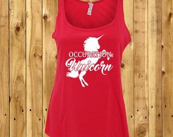 Occupation Unicorn Tank, Girlfriend Birthday Gift, Wife Anniversary Present, Ladies Workout Top, Womens Unicorn Tshirt, Fairytale Shirt