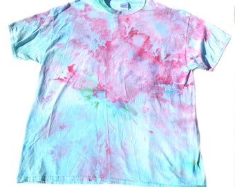 Tie Dye Pink & Blue Cotton T-shirt (X-Large)