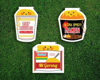 Magnetic Bookmark Set | Instant Noodles Magnet Cute Book Bookmarks Pack of 3, Magnetic Cute Quirky Kawaii Ramen Mi Goreng Maggi Cup Asian