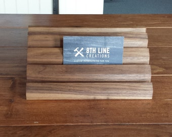 Business Card Holder,Multiple Business Card Display, Gift Card Holder, Walnut, Office Decor, Gift Card Display, Business Card Stand