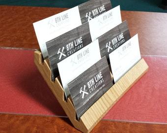 Oak Business Card Holder, Multiple Business Card Holder, Business Card Display, Desk Accessory, Office Supplies