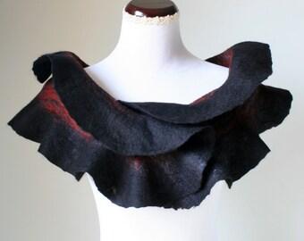Black Felted Wool Scarf,Wet Felt Merino Scarf,Ruffled Wool Felt Scarf,Hand Felted Wool Scarf,Handmade Wet Felted Scarf,Nuno Felted Scarf