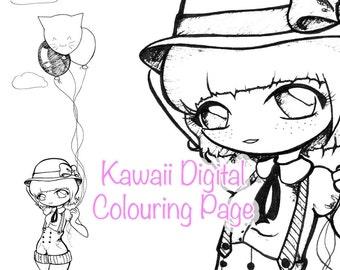 Kawaii Cute Chibi Colouring Digital Download Printable Page