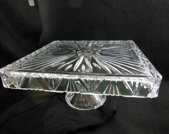 "Glass Cake Stand - Vintage - 12"" Square - Perfect Condition"
