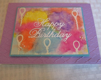 """Water color Happy Birthday Card, colorful one-of-a-kind card, cupcakes and candles inside, """"You're the icing on the cupcake!"""""""