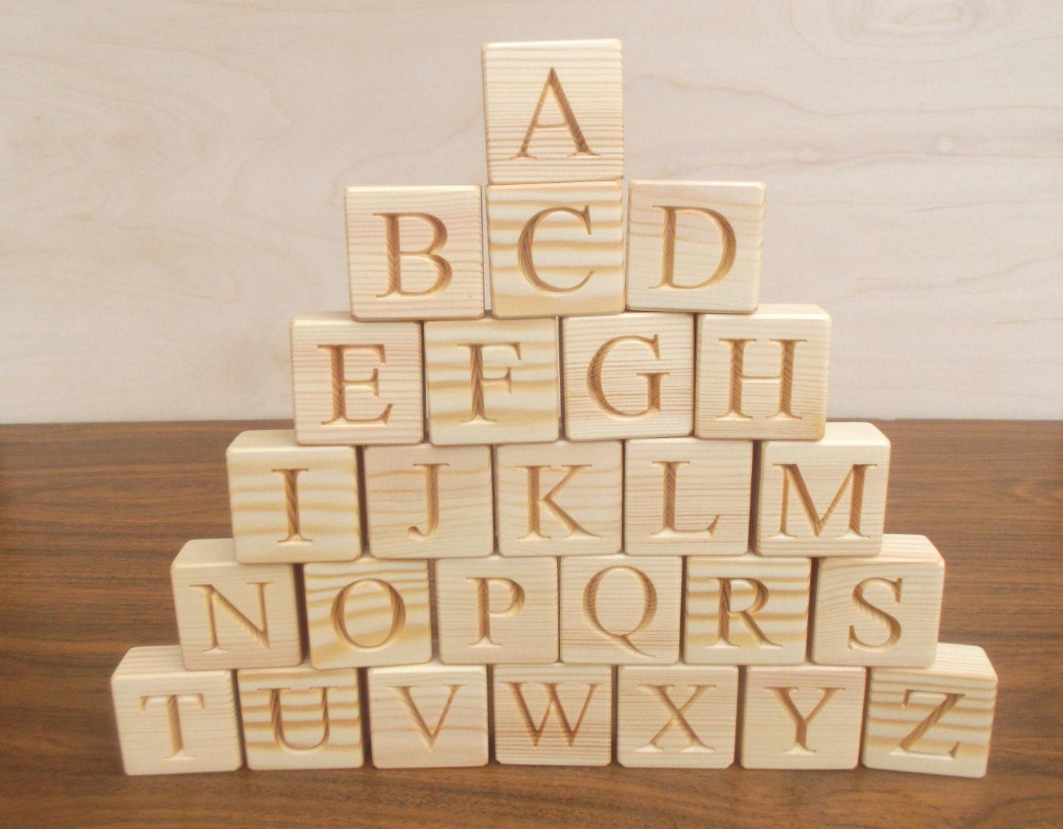 Wood Block Letters ~ English alphabet blocks wooden wood