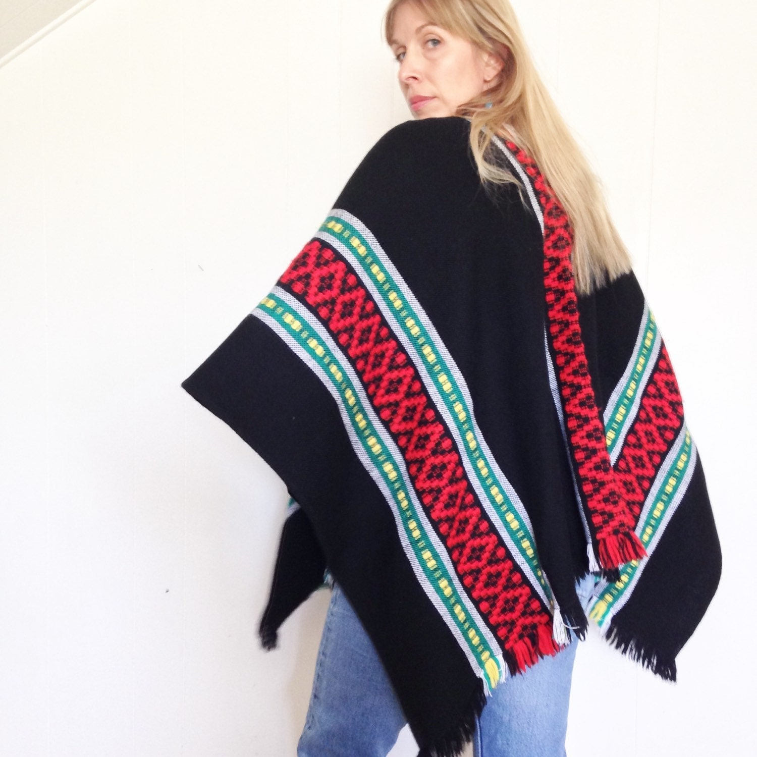 Vintage Poncho. 90's Poncho. Drug Rug. Beach Cover Up