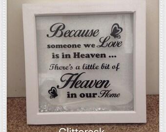 Because someone we love glittered deep box frame