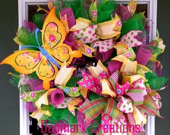 Front door wreath, Spring wreath, Summer wreath, Butterfly wreath, Mesh wreath
