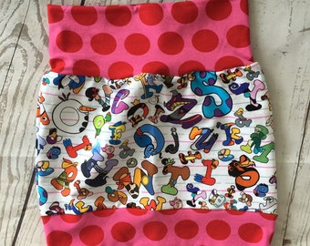 Animated Alphabet -  Girl's Skirt 6T with pink polka dots