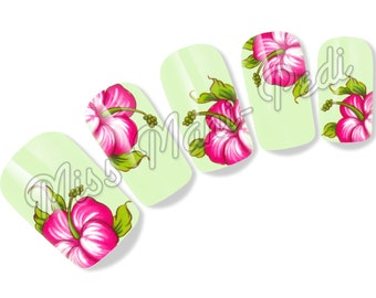 Nail Art Water Slide Decals Transfers Stickers - Large Tropical Hibiscus Flower - G113