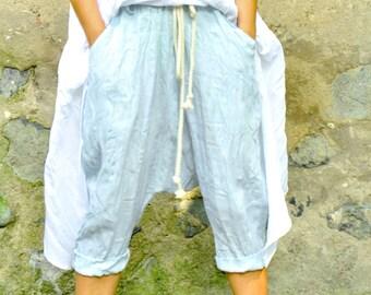 Light blue LINEN 100% pants/Loose pants/Maxi loose extravagant drop crotch pants/Woman harem pants/Trousers Eco friendly/Washed linen/P1494