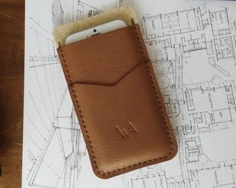 iPhone 6 / 6S Sleeve, %100 Genuine Leather and Wool Felt Sleeve, iPhone 6 / 6S Wallet, iPhone 6 / 6S Cover, Hand-Stitched, Express Shipping