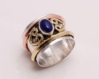 925 Solid Sterling Fine Silver Copper-Brass Lapis  Ring