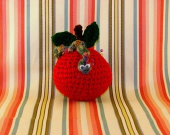 CROCHET APPLE PINCUSHION-Red Apple With Green Leaves And Worm-Googly Eyes-Cute-Adorable-Fun-Sewing-Notions-Pins-#0005