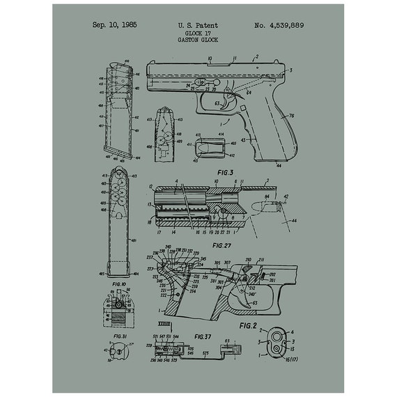 glock 17 handgun military and weapons patent by inkedandscreened