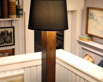 Floor lamp with black shade // walnut