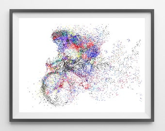 Cyclist racing watercolor print road bicycle racing poster cyclist print Cycling illustration road bycicle race wall decor art gift [399]
