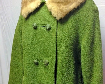 Green Coat with Fur Collar