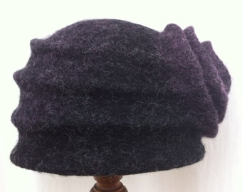 Hand Felted Norwegian C1 and Merino Wool Cloche Hat Grey