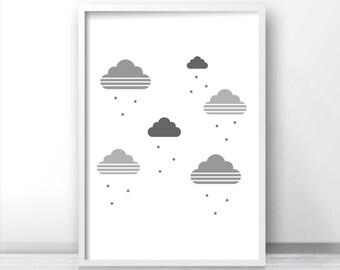 Gender Neutral Baby Nursery Print, Cloud Nursery Printables, Baby Wall Art Print, Digital Nursery Art, Kids Printables, Gray Nursery Decor