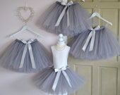 Girls tutu Flower Girl knee length lavender grey tutu skirt ballet tutu tulle skirt baby tutu wedding tutu flower girl dress