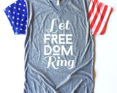 Let Freedom Ring Tee, Adult, Stars and Stripes sleeves, Patriotic Shirt, 4th of July T-shirt, teen