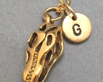 Dinosaur skull necklace, dinosaur skull charm, dinosaur necklace, personalized necklace, initial necklace, initial charm, monogram, dinosaur