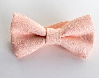 Pale Peach Linen Bow Tie