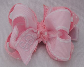 Pretty in Pink Monogrammed Baby Hair Bow