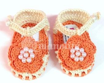 Handmade Crochet Baby Girl Pearled Flower Sandal - 100% Cotton - MADE TO ORDER