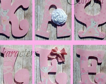 Ballet Themed, Angelina ballerina, painted wall letters, girls room decor, made to order, embellishnents