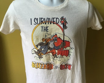 Vintage 1978 blizzard T-shirt, I survived the blizzard of 1978, vintage 1978 blizzard T-shirt size adult small, snowstorm T-shirt blizzard