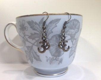 Om Earrings - Om Charm Earrings - Om Symbol Earrings  - Ohm Earrings - Eastern Jewelry