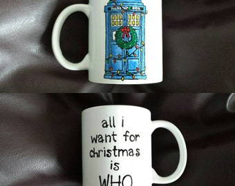Hand Painted Christmas mug inspired by Doctor Who
