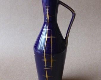 Älteste Volkstedter Porzellanmanufaktur cobalt blue porcelain vase vintage