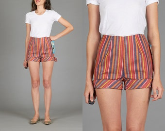 Vintage 60s / 70s XS Deadstock Vertical Striped Denim Hot Pant Shorts
