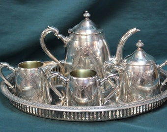 1940s Breakfast Tea Service Set - Silver Plate 5 Piece Set with Tray SS10044