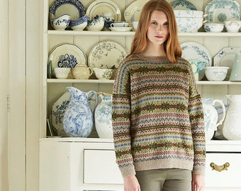 Fair Isle sweater knitting pattern, Finch sweater designed by Marie Wallin, Fair Isle jumper knitting pattern.