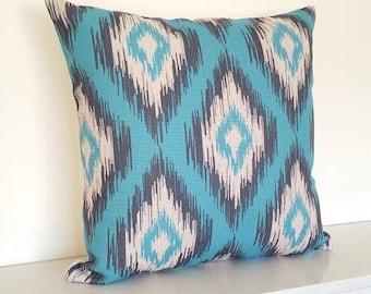 "Teal Ikat Print Cotton Linen Cushion/Pillow Cover 18 x 18"""