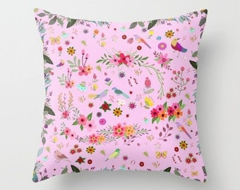 Pink flowers and Birds throw pillow cover-Romantic Floral pillow-Love gift-Valentines gift-16x16-18x18-20x20-Designer-Decorative Modern