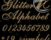 50% OFF SALE Gold Glitter Alphabet, Digital Glitter Alpha, Gold Digital Alphabet Letters, Gold Glitter Letters, Large Glitter Letters,  Desi