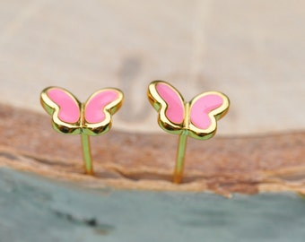 Pink and Gold Butterfly Sterling Silver Earrings, Children's Jewelry, Kids Jewelry, Butterfly Earrings, Sterling Silver Jewelry