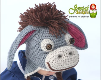 CROCHET PATTERN - Donkey Hat for Baby, Toddler, Child, Teen, Adult, Girl or Boy - Winnie the Pooh/Eeyore inspired - Photo Prop, Costume