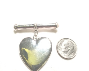 Vintage 925 sterling silver heart brooch / pin